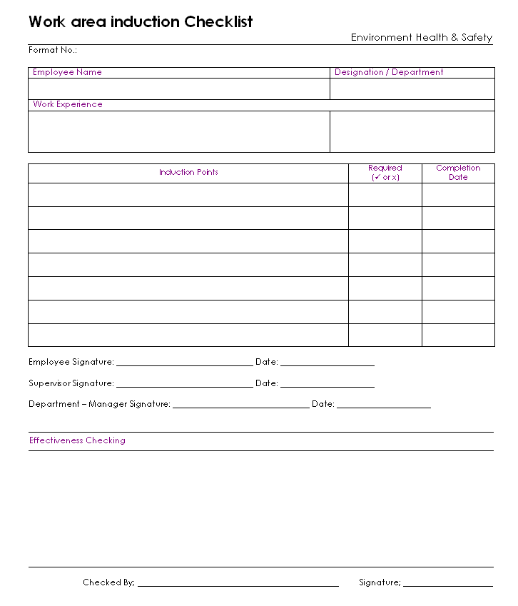 induction checklist template for new employees choice image