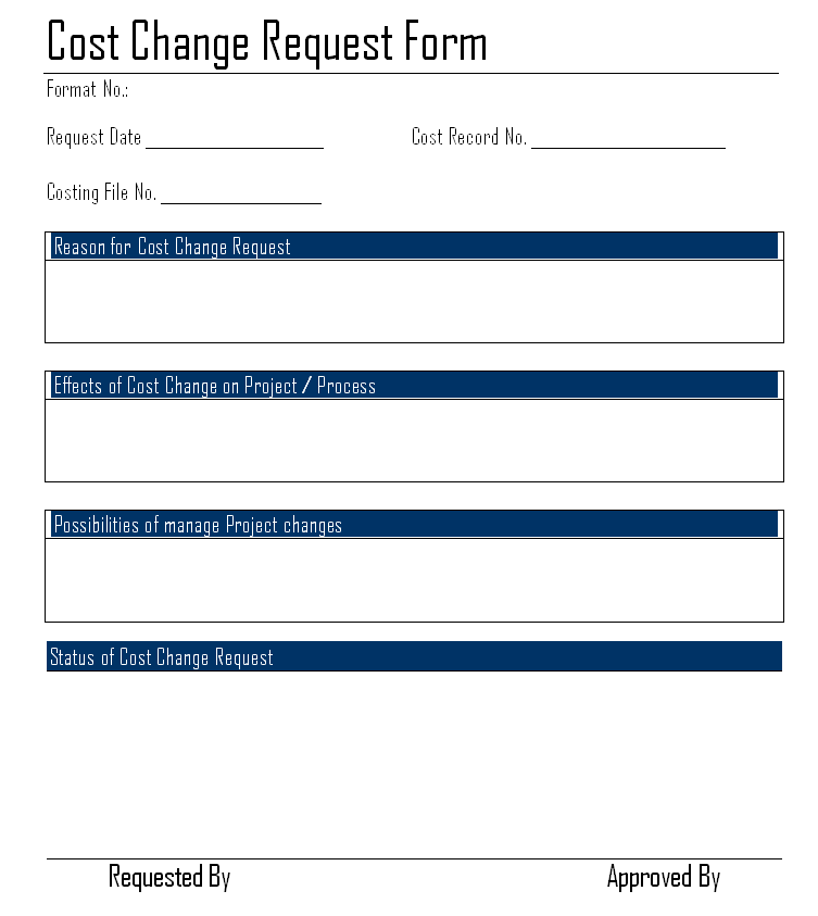 Cost Change Request Form