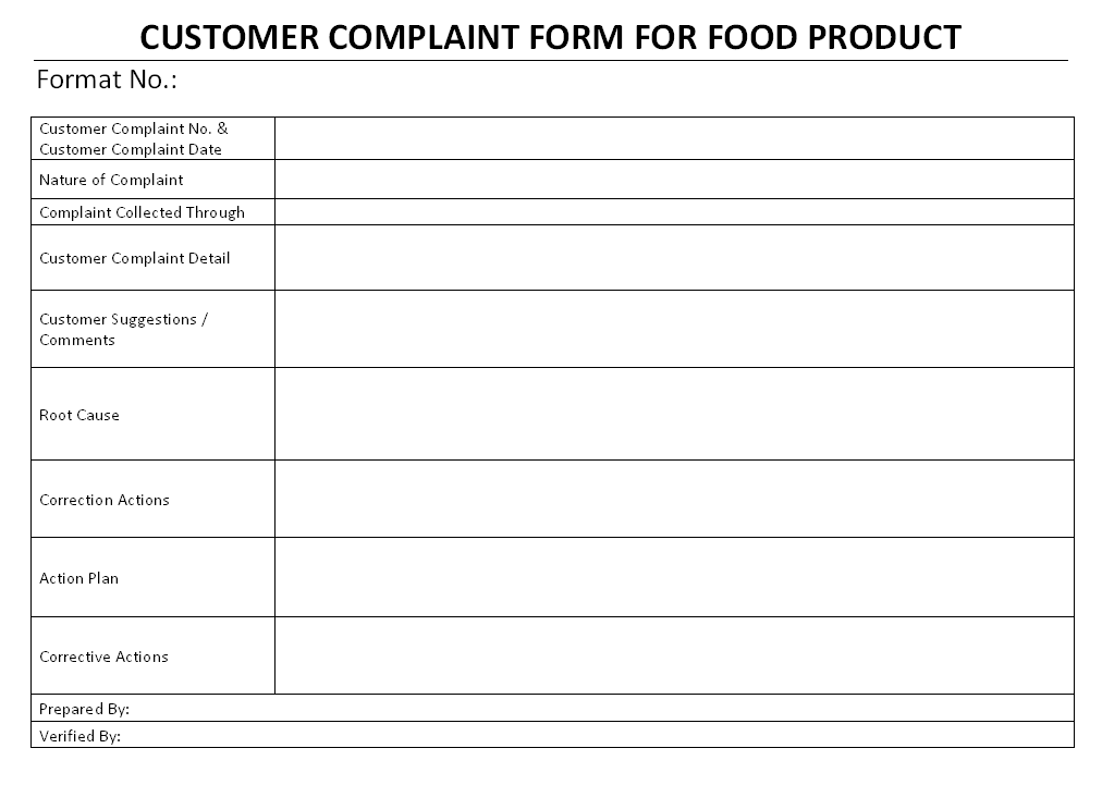Food Products U003e Customer Complaint Form  Customer Complaints Form Template