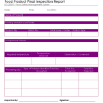 Food product final inspection report