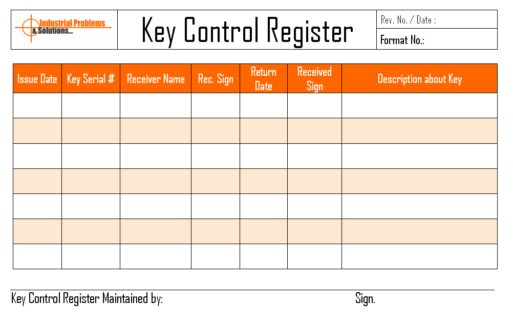 key control log sheet Book Covers