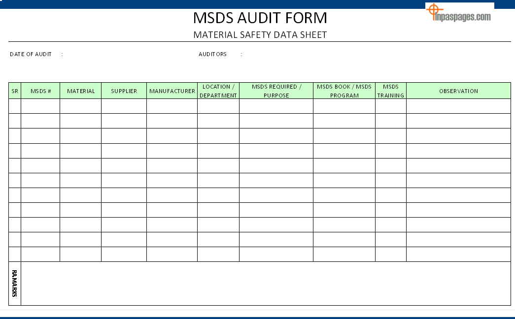 health and safety review template - msds audit form