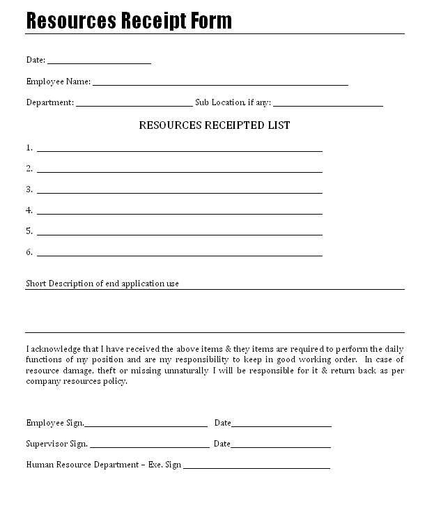 Resource Receipt Form