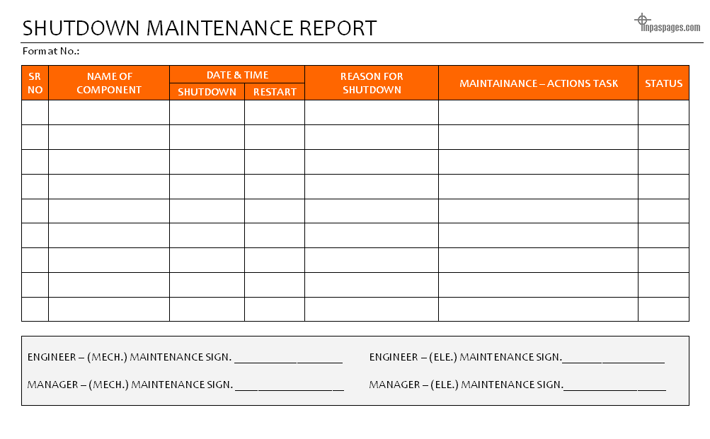 Shutdown maintenance report for Equipment replacement plan template