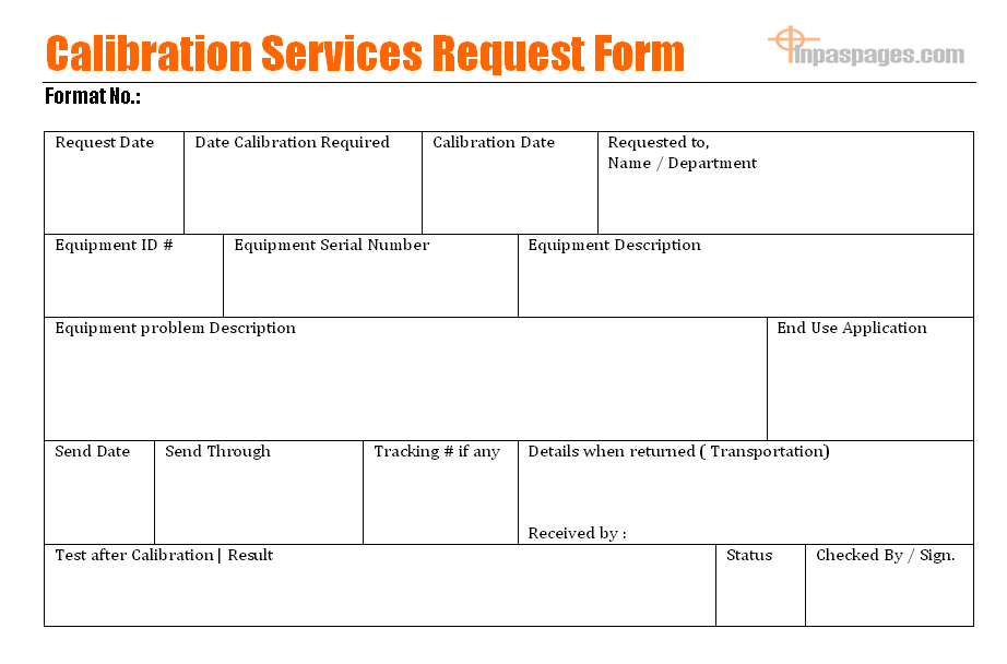 Calibration services request form