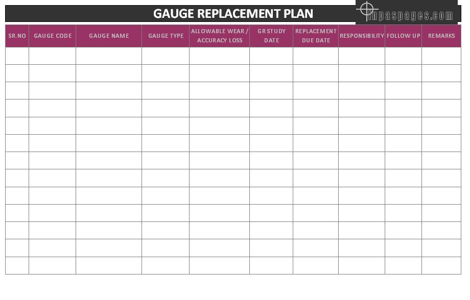 gauge replacement plan