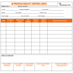 In-process quality control sheet