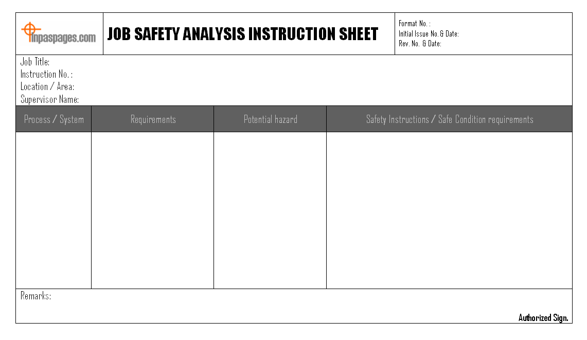 Lovely Job Safety Analysis Instruction Sheet Regarding Job Safety Analysis Form Template