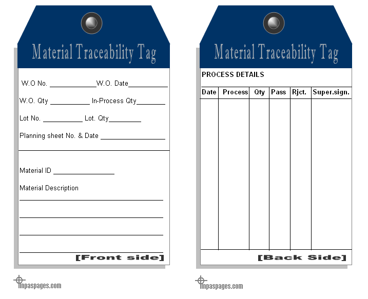 material Traceability tag