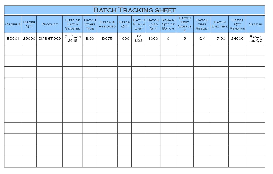 Batch Production Record Template