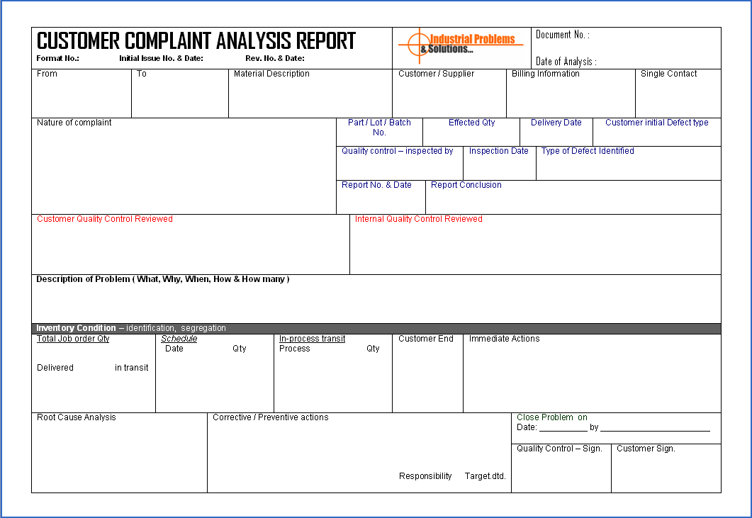 Customer Complaint Analysis Report  Customer Complaints Form Template