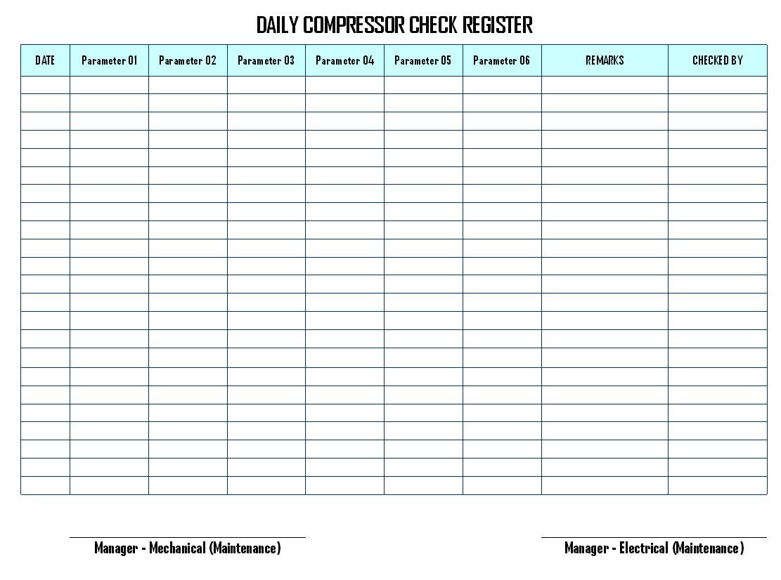 Daily compressor check register