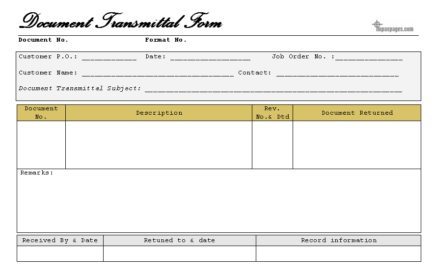 Doc10001000 Transmittal Form Letter of Transmittal Form 55 – Transmittal Template