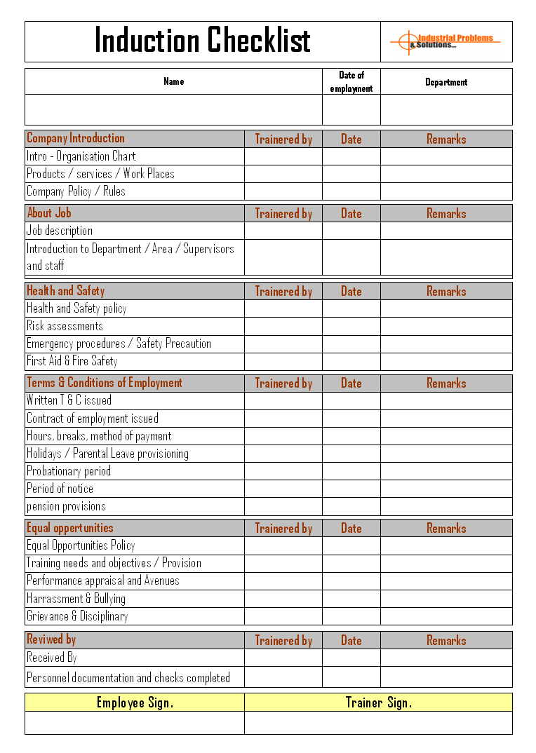 Induction Checklist Format