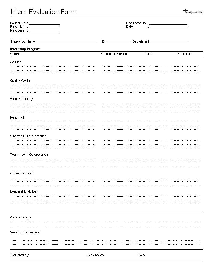 intern evaluation human resources form. Black Bedroom Furniture Sets. Home Design Ideas