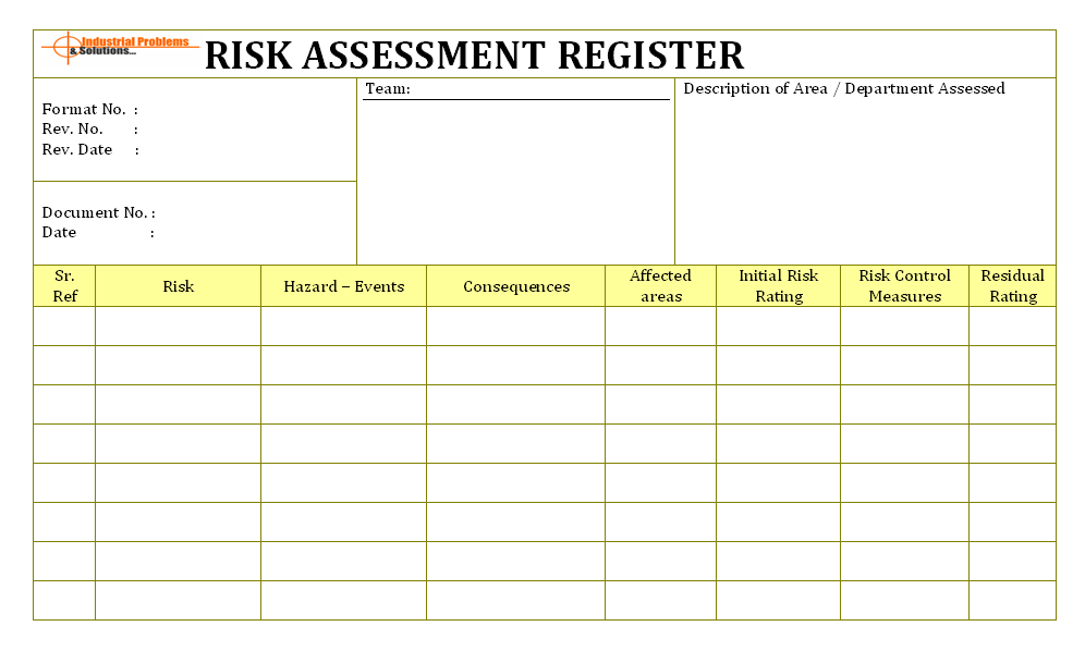 Risk identification in workplace and assessment for Risk documentation template