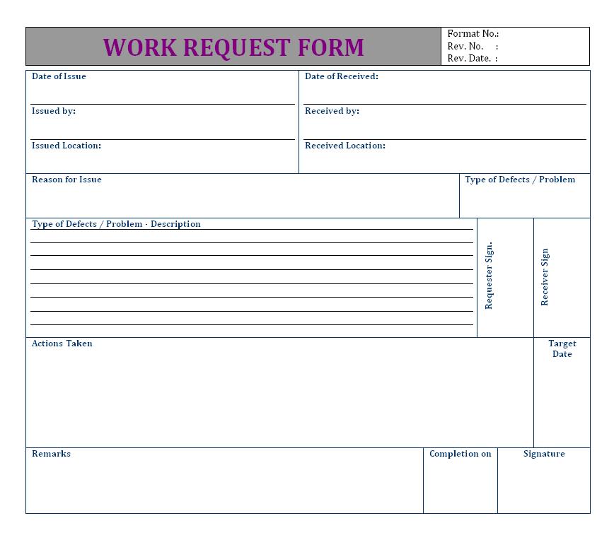 Superb Work Request Form