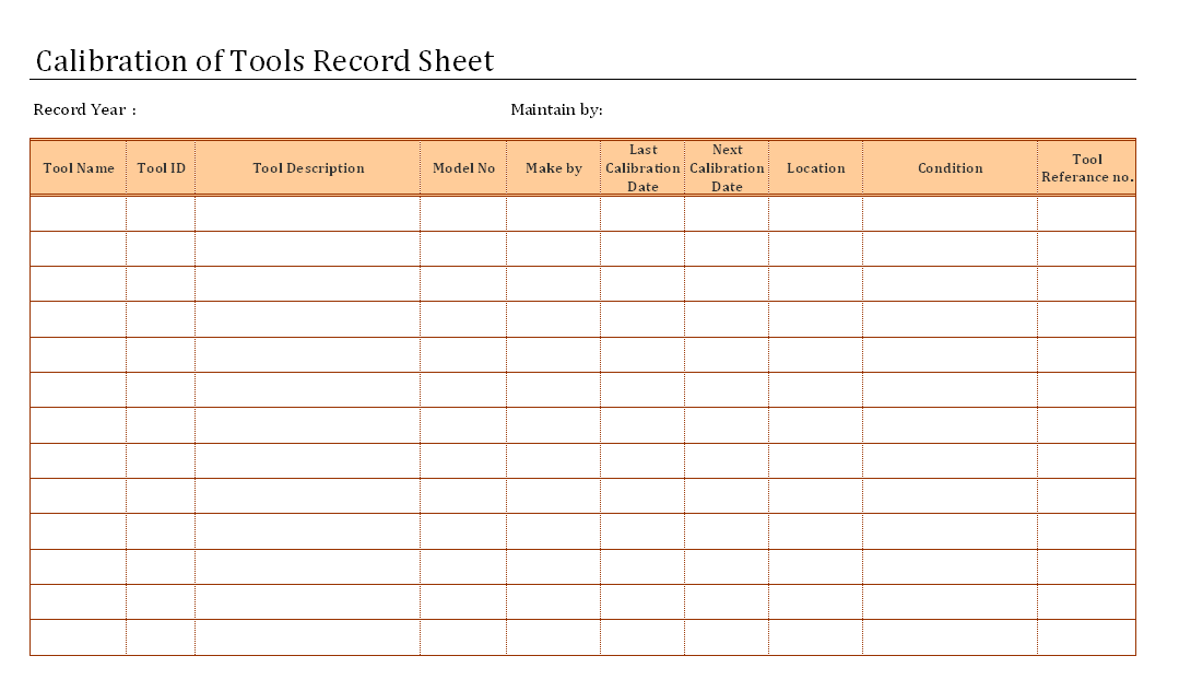 Calibration of tools record sheet