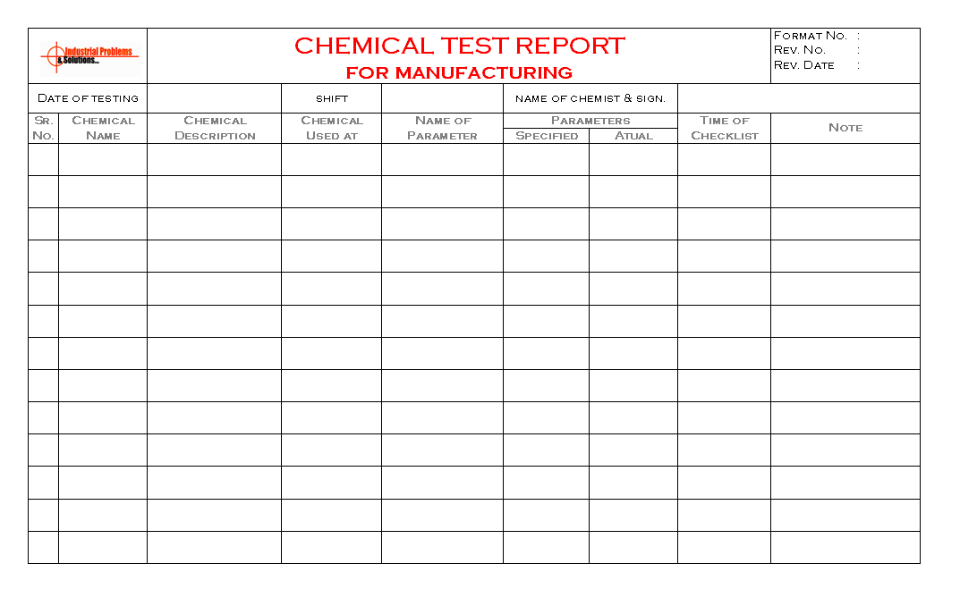 Chemical test report for manufacturing