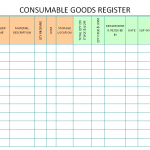 Consumable goods Register