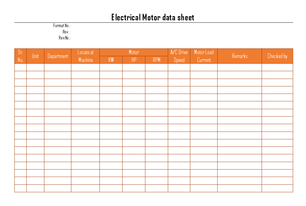 Electric motors documentation for electrical maintenance
