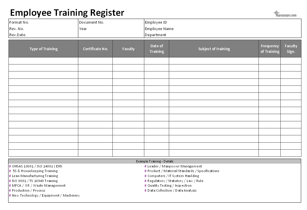 Employee training documentation hr formats for Training record template in excel