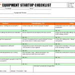 Equipment startup checklist