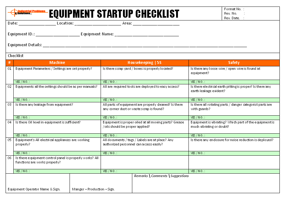 equipment operation startup checklist
