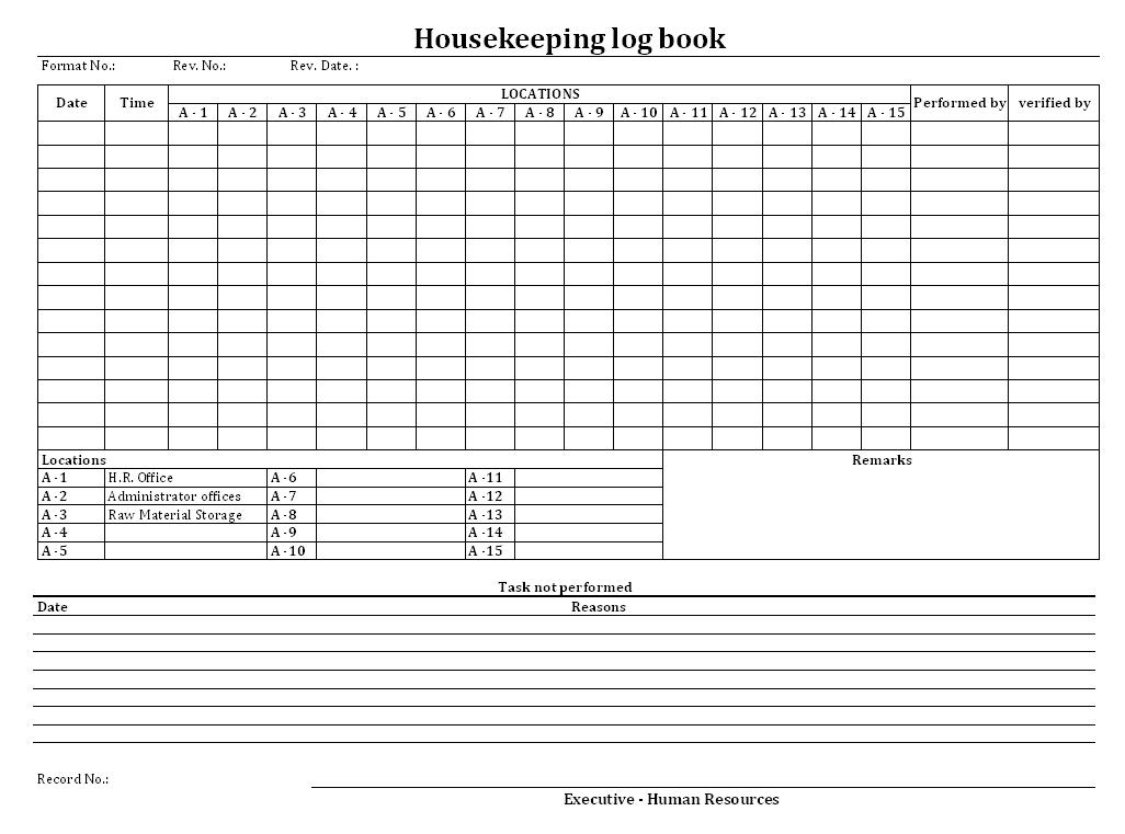 Housekeeping log book
