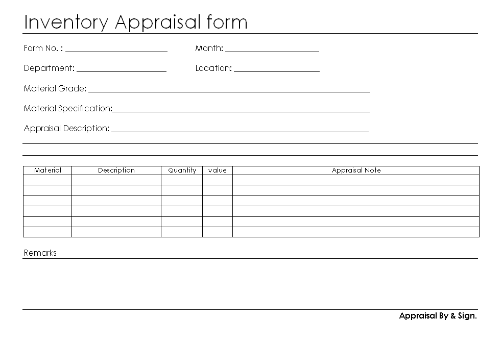Inventory appraisal form