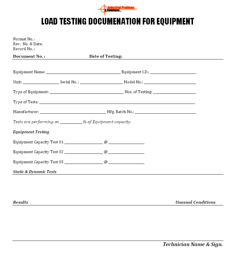 load test plan template - load testing documentation for equipment