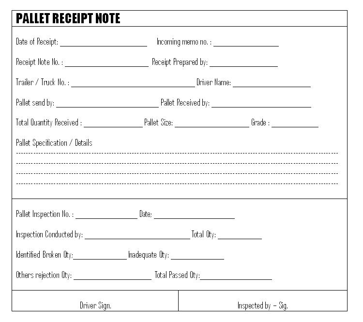 Pallet receipt note
