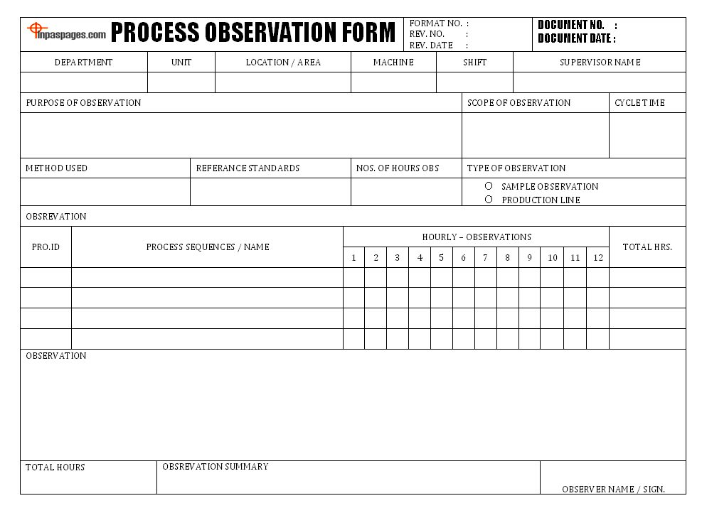 Process observation form