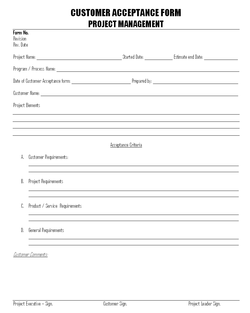 Customer Acceptance form