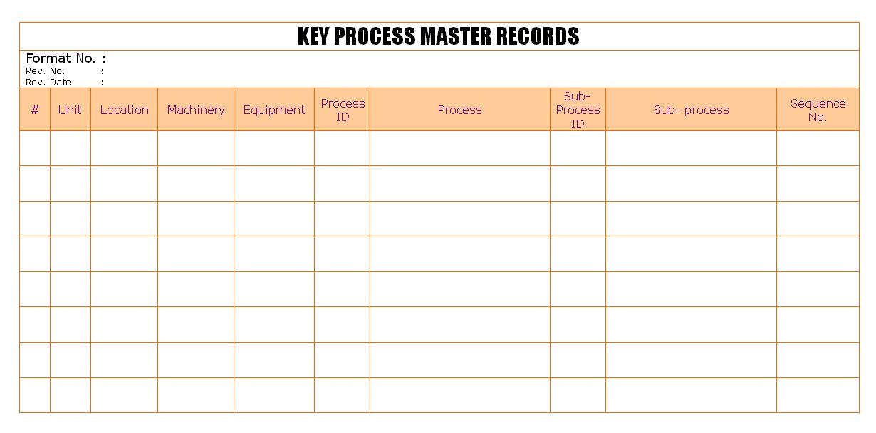 Key Process master records