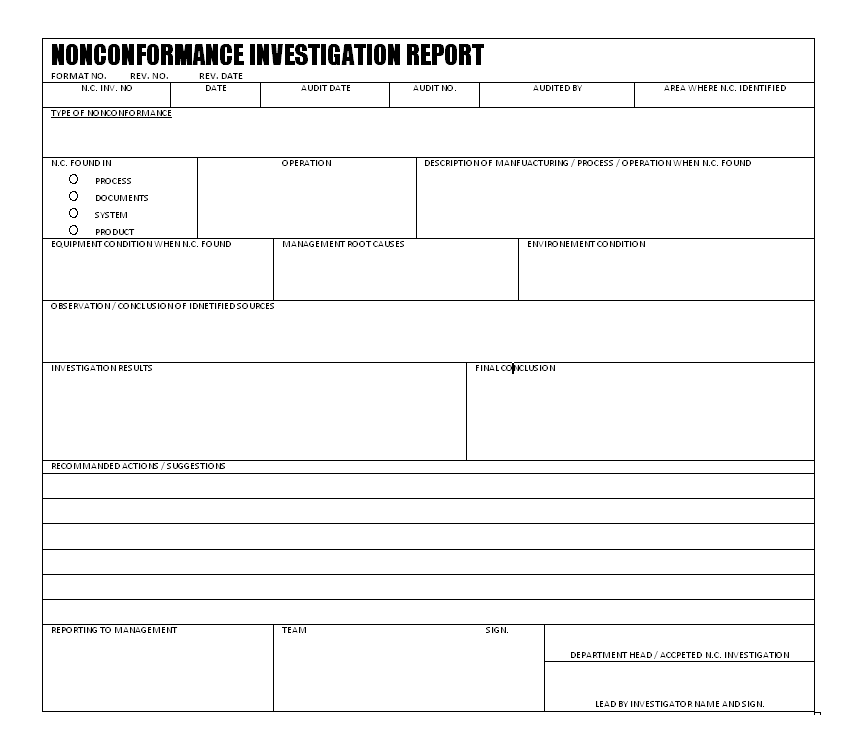 Non conformance investigation report