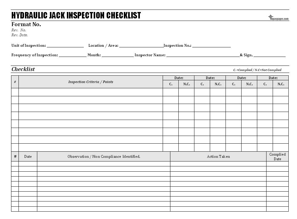 Hydraulic jack inspection checklist