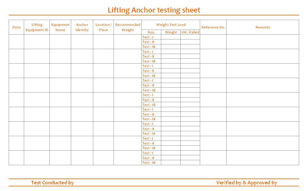 Lifting anchor testing sheet