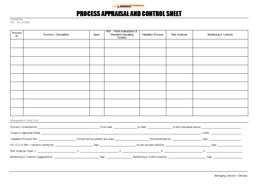 Process appraisal and control sheet