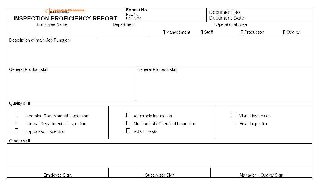 Inspection proficiency report