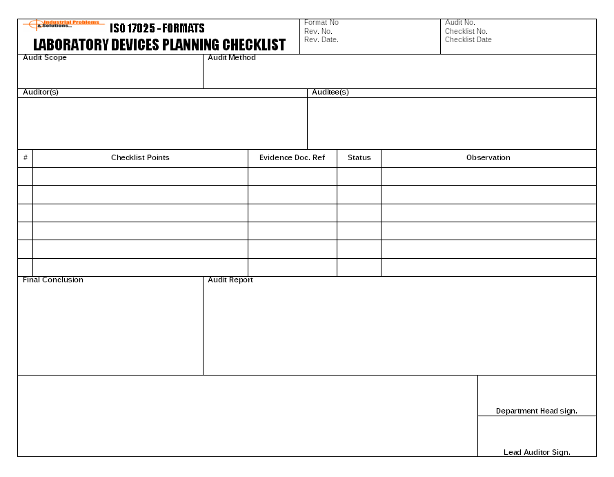 Laboratory devices planning checklist