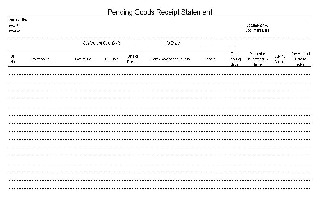 Pending goods receipt statement