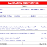 Calibration Rejection Tag