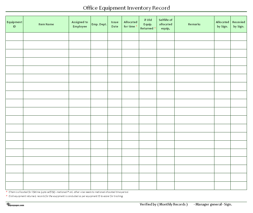 Inventory Format fax form template – Office Inventory Template