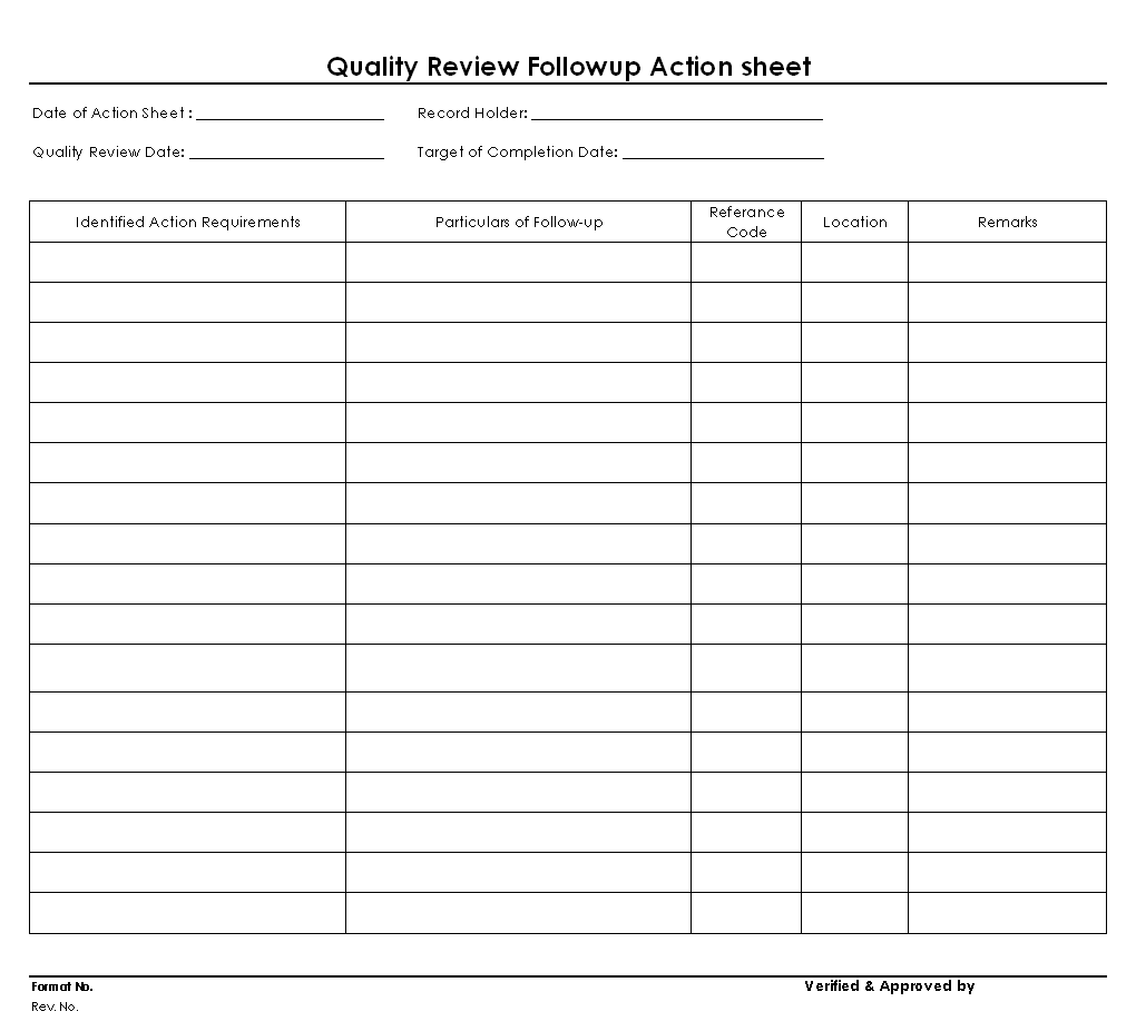 Quality reviews follow-up action sheet