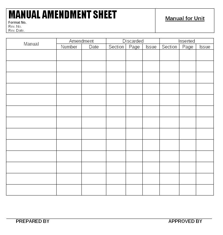 Manual amendment sheet