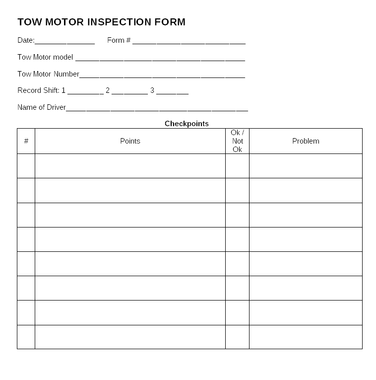 Tow motor inspection form