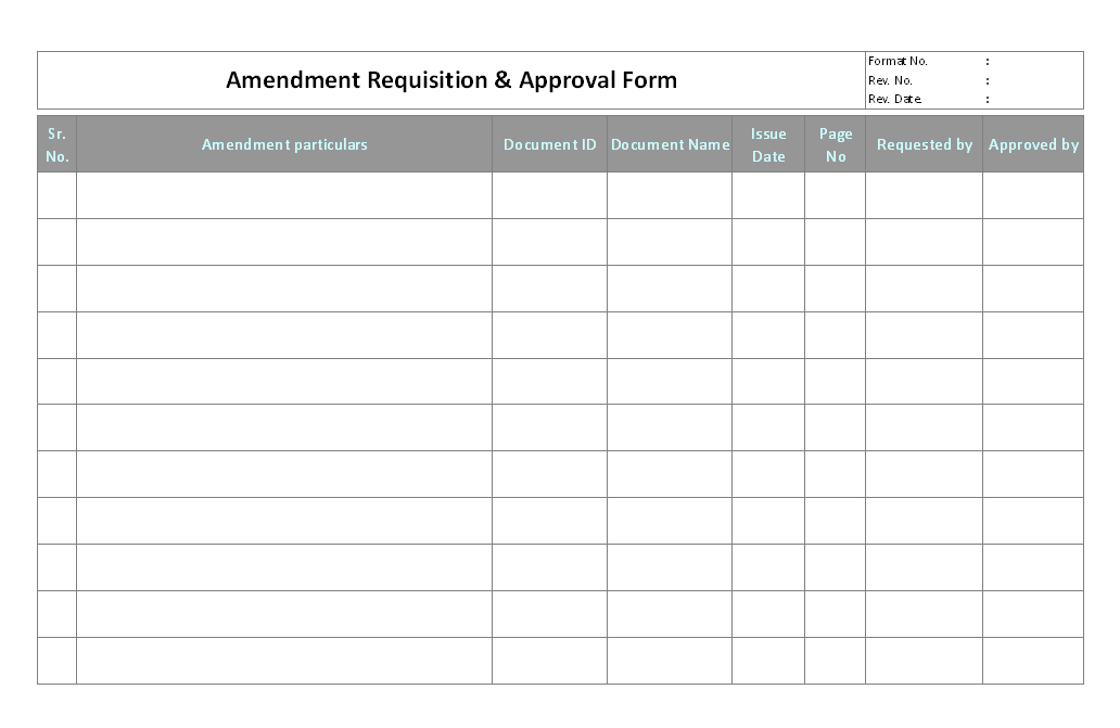 Amendment requisition & approval form