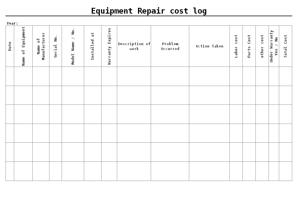 Equipment repair cost log