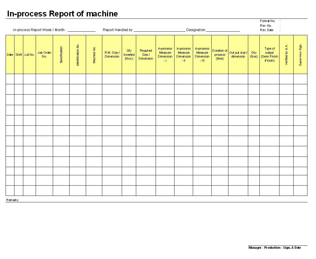 In-process report of machine